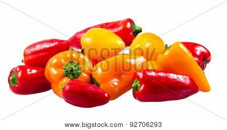 Fresh Colorful Mini Bell Peppers Isolated On White  Background