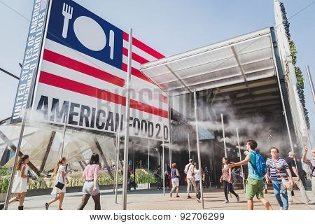 People Visiting United States Pavilion At Expo 2015 In Milan, Italy
