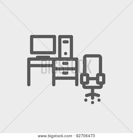 Computer set with table and chair icon thin line for web and mobile, modern minimalistic flat design. Vector dark grey icon on light grey background.
