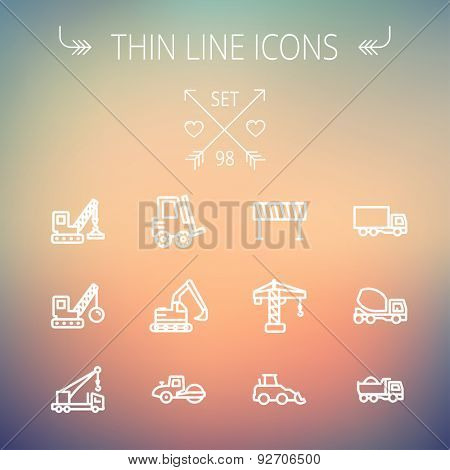 Construction thin line icon set for web and mobile. Set includes -forklift, road roller, cranes, dump truck, road barrier, delivery truck, mixer. Modern minimalistic flat design. Vector white icon on