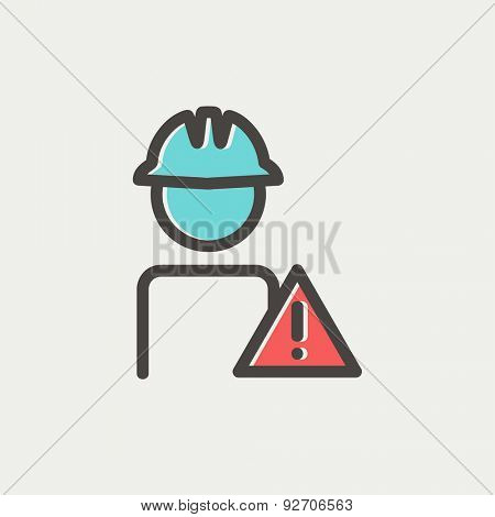 Worker in caution sign icon thin line for web and mobile, modern minimalistic flat design. Vector icon with dark grey outline and offset colour on light grey background.