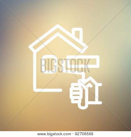 House painting using paint roller icon thin line for web and mobile, modern minimalistic flat design. Vector white icon on gradient mesh background.