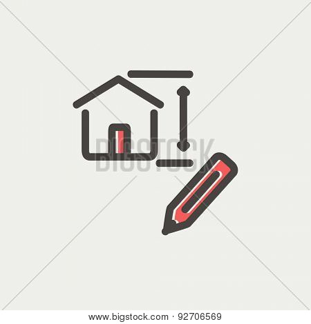 House sketch and pencil icon thin line for web and mobile, modern minimalistic flat design. Vector icon with dark grey outline and offset colour on light grey background.