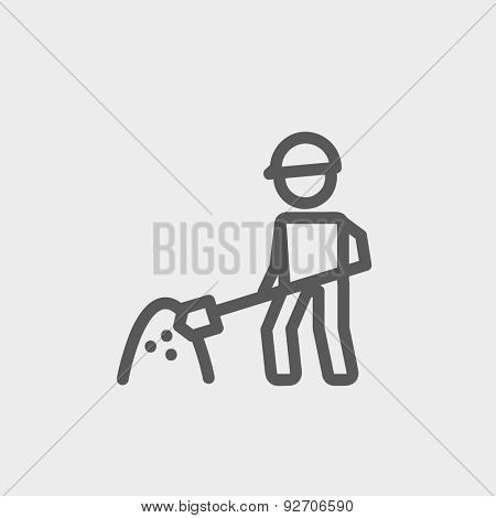 Worker with hard hat and shovel in building site icon thin line for web and mobile, modern minimalistic flat design. Vector dark grey icon on light grey background.