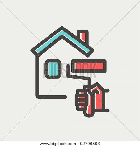 House painting using paint roller icon thin line for web and mobile, modern minimalistic flat design. Vector icon with dark grey outline and offset colour on light grey background.