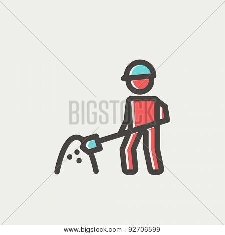 Worker with hard hat and shovel in building site icon thin line for web and mobile, modern minimalistic flat design. Vector icon with dark grey outline and offset colour on light grey background.