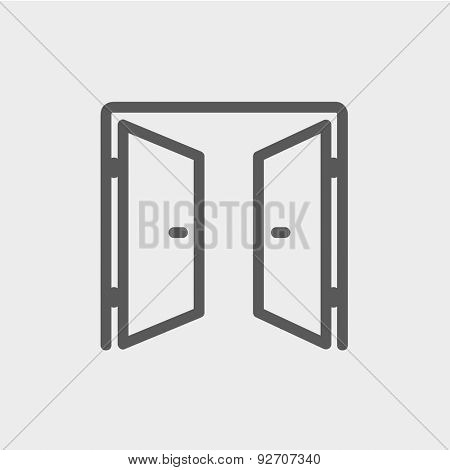 Two doors icon thin line for web and mobile, modern minimalistic flat design. Vector dark grey icon on light grey background.