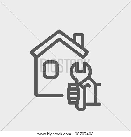 House repair icon thin line for web and mobile, modern minimalistic flat design. Vector dark grey icon on light grey background.