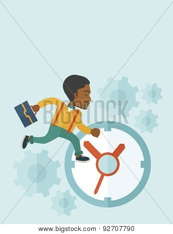 A worker with briefcase is late to Work with a clock symbol. A contemporary style with pastel palette soft blue tinted background. Vector flat design illustration. Vertical layout with text space on