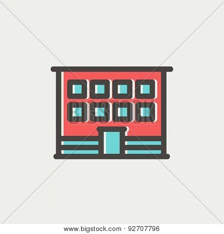 Modern office building icon thin line for web and mobile, modern minimalistic flat design. Vector icon with dark grey outline and offset colour on light grey background.