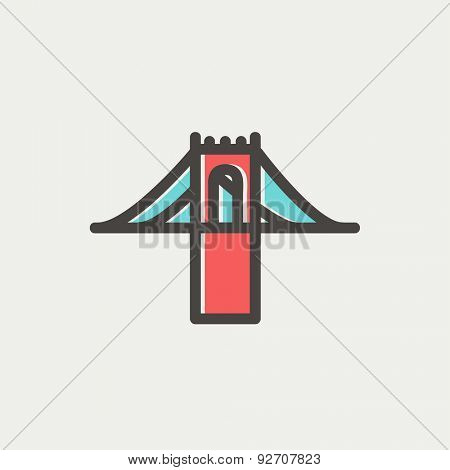 Bridge icon thin line for web and mobile, modern minimalistic flat design. Vector icon with dark grey outline and offset colour on light grey background.