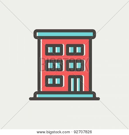 Residential building icon thin line for web and mobile, modern minimalistic flat design. Vector icon with dark grey outline and offset colour on light grey background.
