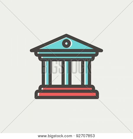 Museum building icon thin line for web and mobile, modern minimalistic flat design. Vector icon with dark grey outline and offset colour on light grey background.