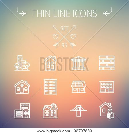 Construction thin line icon set for web and mobile. Set includes -museum, house with solar panel, bridge, building, bricks, hotel. Modern minimalistic flat design. Vector white icon on gradient  mesh
