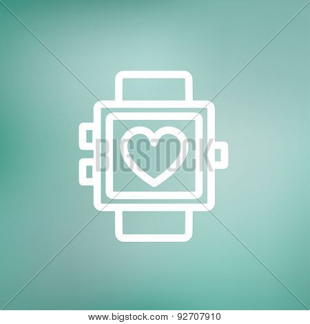 Wristwatch with heart display icon thin line for web and mobile, modern minimalistic flat design. Vector white icon on gradient mesh background.