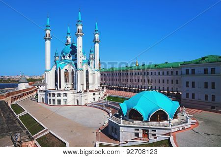 Aerial View Of Qol Sharif Mosque Inside Kazan Kremlin, Russia