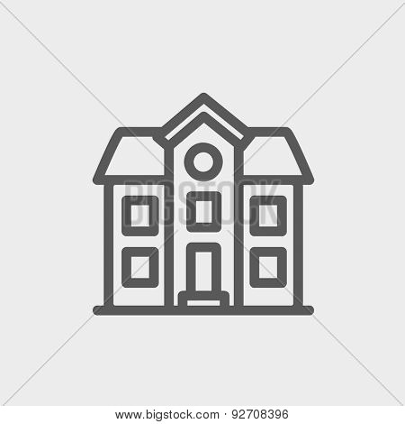 Two storey house building icon thin line for web and mobile, modern minimalistic flat design. Vector dark grey icon on light grey background.