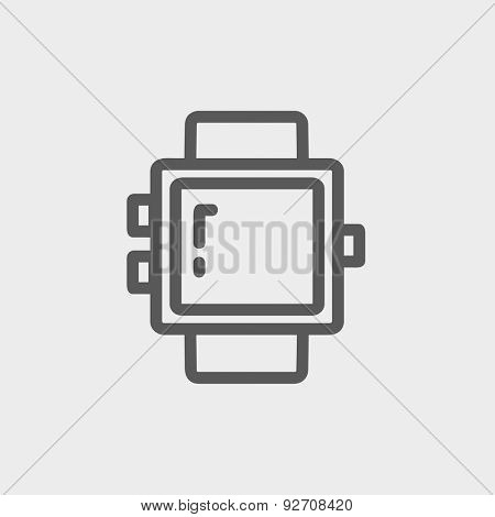 Blank smartwatch icon thin line for web and mobile, modern minimalistic flat design. Vector dark grey icon on light grey background.