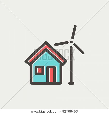 House and windmill icon thin line for web and mobile, modern minimalistic flat design. Vector icon with dark grey outline and offset colour on light grey background.