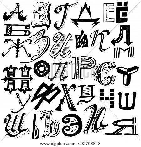 Vector Handmade Set Of Alphabet