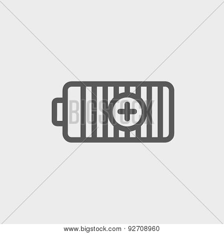 Positive power battery icon thin line for web and mobile, modern minimalistic flat design. Vector dark grey icon on light grey background.