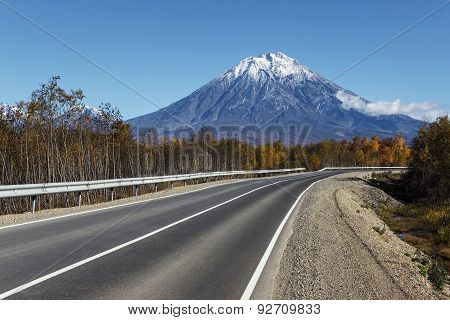 Road To The Active Koryak Volcano On Kamchatka. Russia, Far East