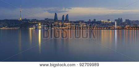 Panorama Of Seaside Boulevard In Baku Azerbaijan