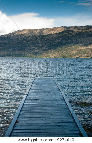 Wood Pier On Okanagan Lake In The Okanagan In British Columbia, Canada