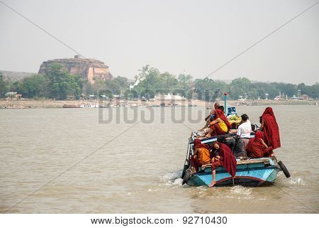 Boat With Monks And The Mingun Pagoda