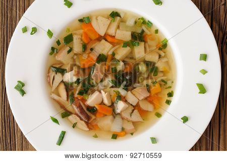 Porcini Mushrooms Soup With Scallion In White Plate On Wooden Background