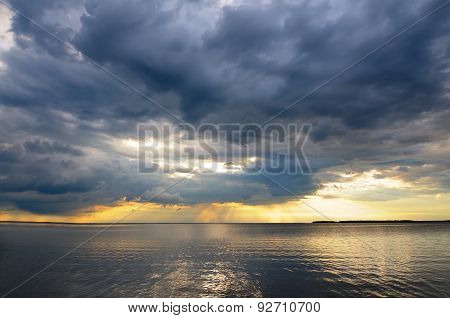 Cloudy sky and water