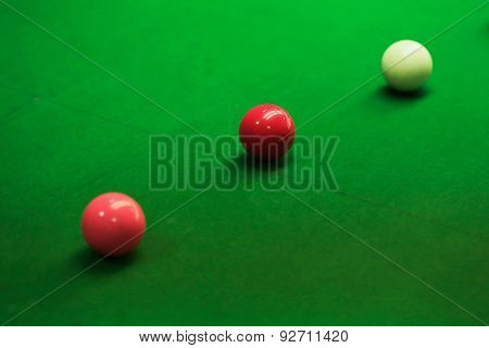 Snooker Balls On Green Snooker Table