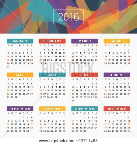 Calendar 2016 Vector Design Template. Week Starts Sunday