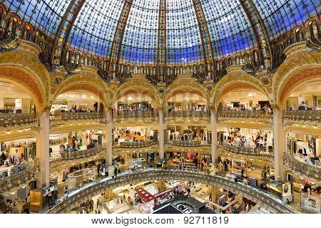 People Shopping In Luxury Lafayette Department Store Of Paris, France