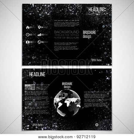 Vector set of tri-fold brochure design template on both sides with world globe element. Molecular wh