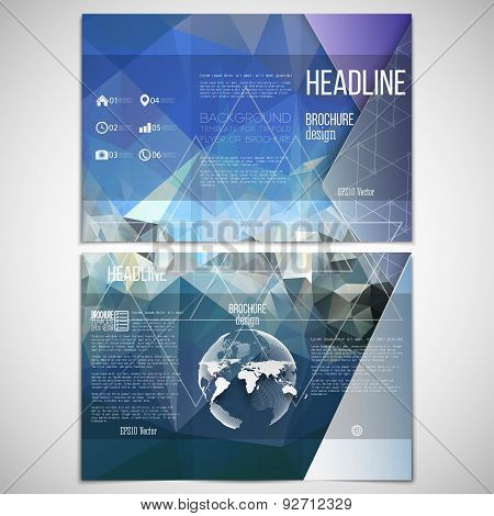 Vector set of tri-fold brochure design template on both sides with world globe element. Colorful geo