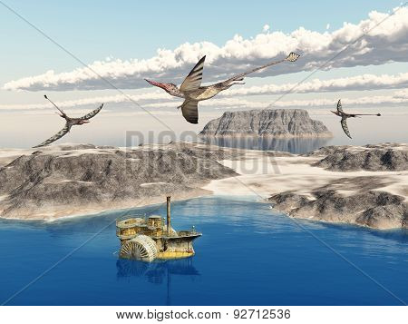 Ocean landscape with steamboat and the pterosaur Rhamphorhynchus