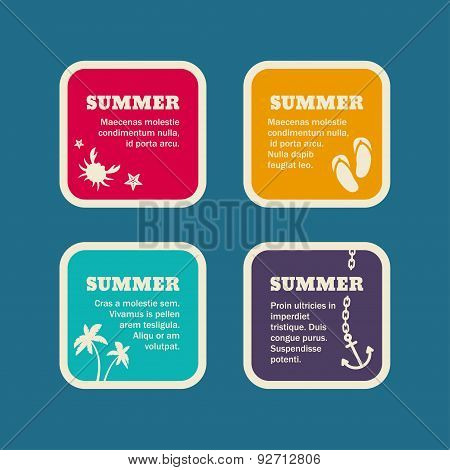 Set Of Summer Holidays Vector Frames. Vector Templates