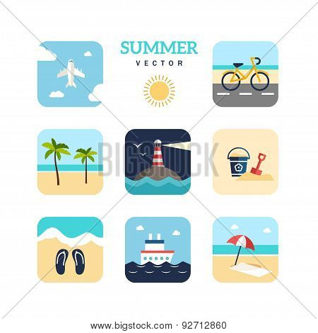 Set Of Summer Holidays Vector Illustrations. Flat Design. Plane, Lighthouse, Palm Trees, Ship, Bike