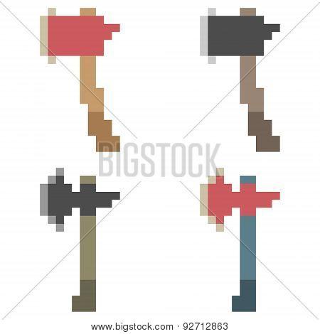 illustration pixel art icon axe