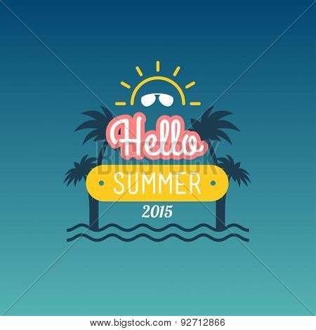 Retro Summer Vintage Label On Colorful Background