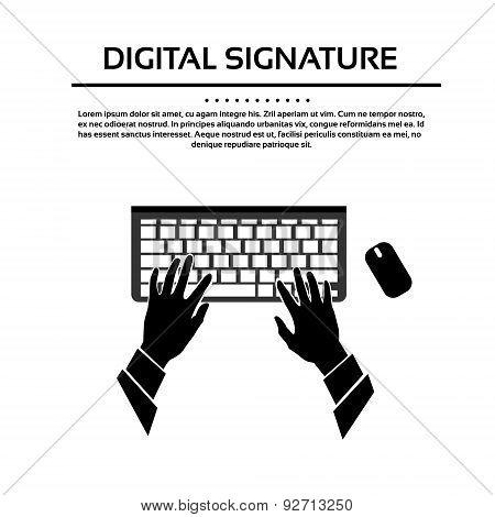 Keyboard Hand Type Black White Silhouette Vector