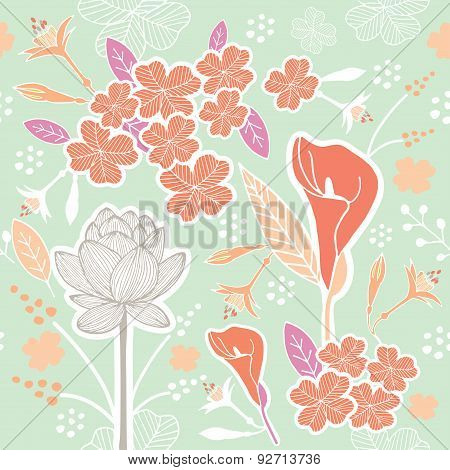 Flower Or Floral And Leaf Pattern Seamless Pastel Green