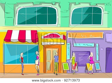 Shopping Mall Building Exterior Store People Walking Shop Vector