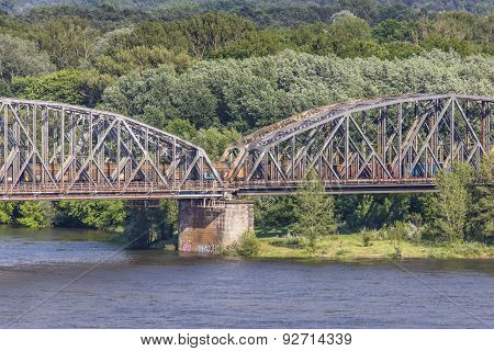 Poland - Torun Famous Truss Bridge Over Vistula River. Transportation Infrastructure.