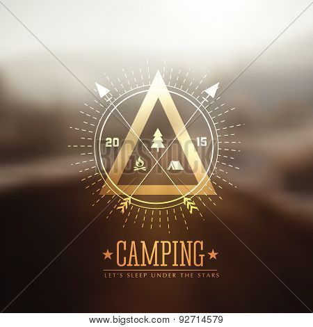 Camping Vector Labels With Blured Background