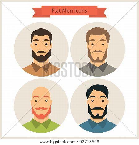 Flat Men Avatars Circle Icons Set