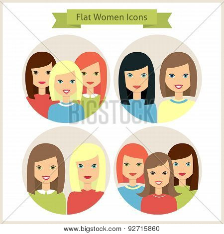 Women Flat Characters Circle Icons Set