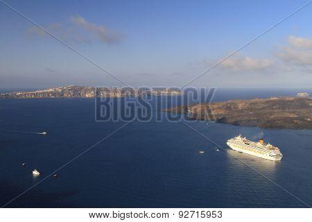 Cruise Ship At Santorini