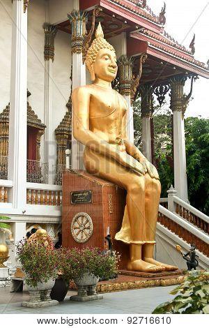 Sitting Buddah In A Temple In Bangkok